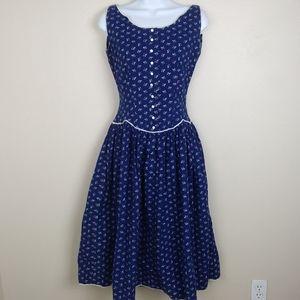 Vintage Lanz Original Prairie Style Floral Dress